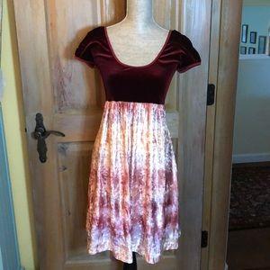 Velvet Empire Waist Dress, Size M, Berry